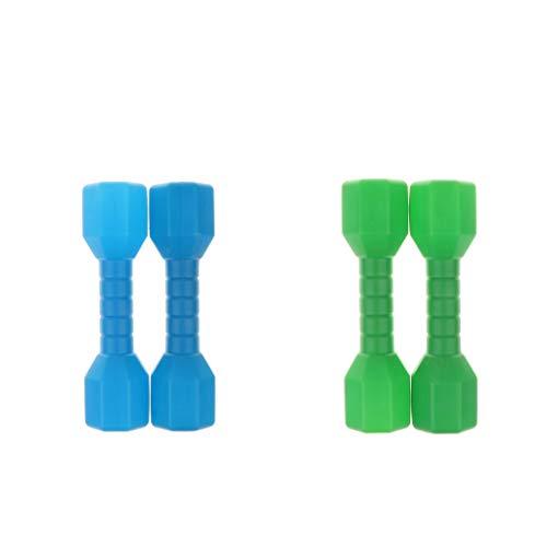 chiwanji 2 Paia di Manubri in Plastica Leggera per Bambini, Parco Giochi per Il Fitness, Blu / Verde