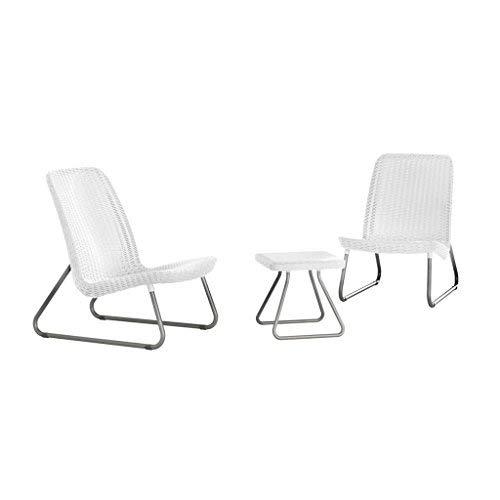 Keter 17197637 Lounge Set Rio, Rattanoptik, Kunststoff, weiß, 77.5 x 76 x 54 cm