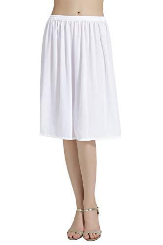 BEAUTELICATE Damen Unterrock Satin/Chiffon Halbrock Knielang Petticoat Crinoline Vintage Antistatisch Underskirt Weiß S 50CM