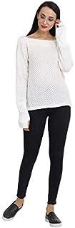 Saava Women's Off White Acrylic Wool Long Sleeve Woolen Sweatshirt