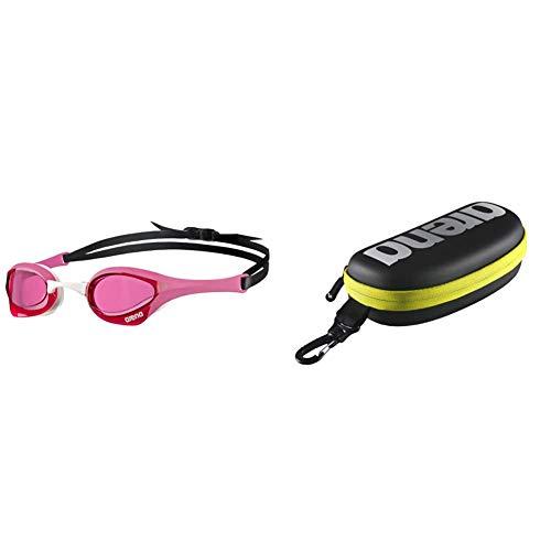 ARENA Cobra Ultra, Occhialini Unisex , Adulto, Rosa/Bianco, Taglia Unica & Goggle Case, Astuccio Per Occhialini Unisex Adulto, Nero (Black/Silver/Fluo Yellow), Taglia Unica