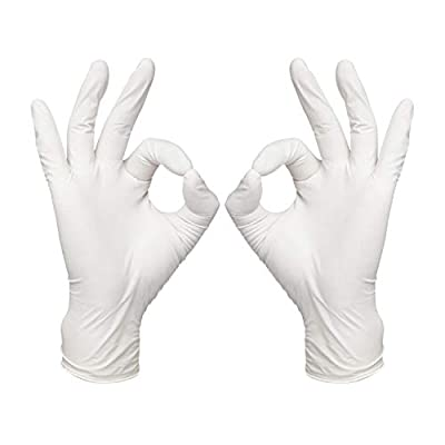 LANON 100 Count Disposable Nitrile Gloves Food Grade with Textured Fingertips, 2 mil, Latex and Powder Free, White, Medium