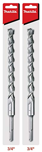 """Makita 2 Pack - SDS-Plus 3/4"""" Drill Bits For SDS+ Rotary Hammers - 10' Deep Drilling Into Concrete & Masonry"""