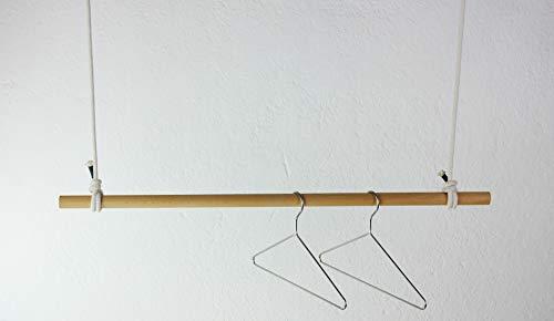 craftwerk 11 Hängegarderobe 100cm aus Holz - Kleiderstange Deckenmontage - Buche mit Baumwollseil Weiss