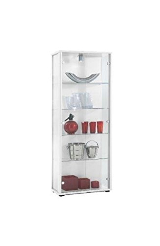 K-Möbel Glasvitrine in Weiss (176x67x33 cm) mit 4 höhenverstellbaren Glasböden aus ESG; beleuchtet; perfekt für Sammler;