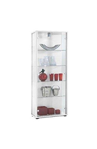 K-Möbel Glasvitrine in Weiss (176x67x33 cm) mit 4 höhenverstellbaren Glasböden aus ESG; beleuchet; perfekt für Sammler;