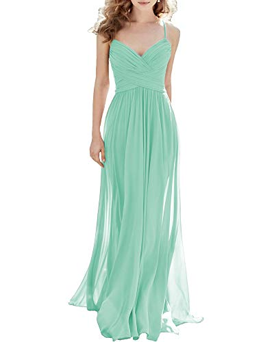 Noras dress Chiffon Spaghetti Straps Bridesmaid Dresses Long Boho Formal Dresses for Women Evening 2 Mint