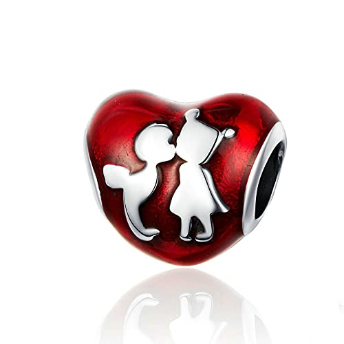 LIJIAN DIY 925 Sterling Jewelry Charm Beads Esmalte Corazón Niño Y Niña Amigos Hacer Originales Pandora Collares Pulseras Y Tobilleras Regalos para Mujeres