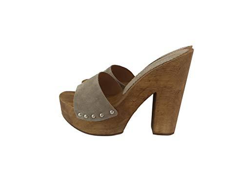 Silfer Shoes – Socle en bois véritable et peau de chamois, couleur poudre beige Beige Cipria 37 EU