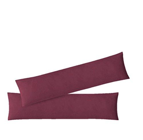 EXKLUSIV HEIMTEXTIL, Federa per cuscino in tessuto termico, confezione doppia con chiusura lampo, 40 x 145 cm, jersey di alta qualità, Cotone, bordeaux, 40 x 145 cm