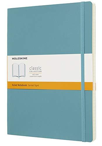 Moleskine - Cuaderno Clásico con Páginas Rayadas, Tapa Blanda y Goma Elástica, Azul (Reef Blue), Tamaño Extra Grande, 192 Páginas