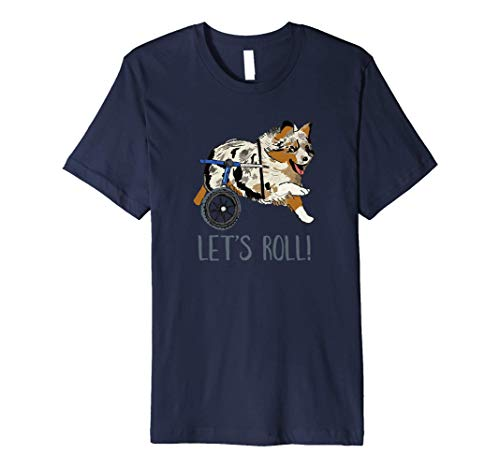 Let's Roll Australian Shepherd Dog with Wheelchair Graphic Premium T-Shirt