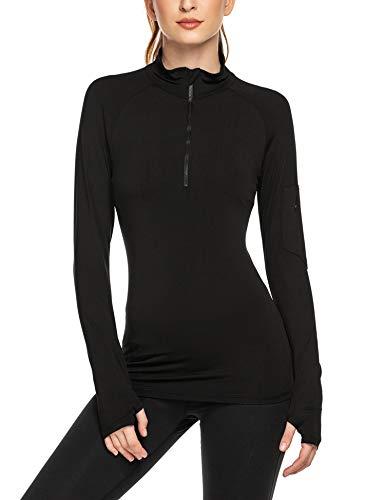 ADOME Sportshirt Damen Langarm Laufshirt Sporttop Atmungsaktiv Sports Shirt Trainingsshirt Yoga Funktionsshirt mit Daumenlöcher und Reißverschlusstasche