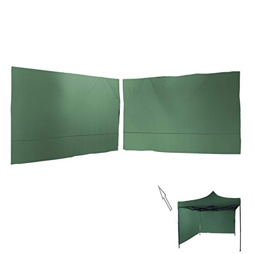 Rebecca Mobili Set 2 Green Side Walls, Side Covers, Green Polyester, Gazebo 3x3 m for Fair, Rain Protection, Fixing with Laces - Dimensions: 1,9 x 2,9 m (HxW) - Cod. RE6445