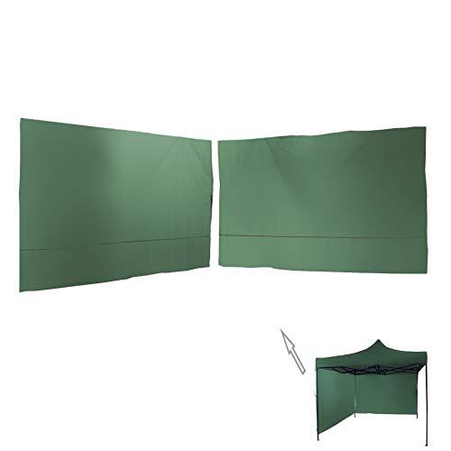 Rebecca Mobili Set de 2 Paredes Verdes, Paneles Lateral, Poliéster Verde, para Gazebo Ferias 3x3 m, Fijación con Cordones - Medidas: 1,9 x 2,9 m (AxAN) - Art. RE6445
