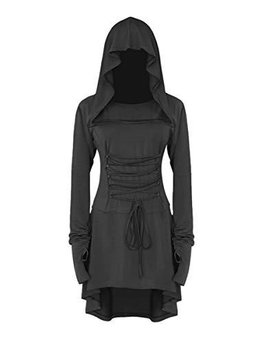 chuangminghangqi Renaissance Kostüm Damen Robe zum Schnüren Mittelalter Kleid mit Kapuze Langarm Retro Gothic Cosplay Halloween Karneval (S, Schwarz)