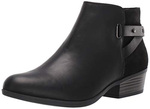 Clarks Women's Addiy Gladys Fashion Boot, Black Leather, 7.5 M US