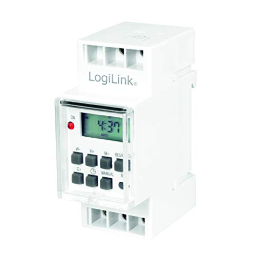 LogiLink ET0010 ET0010-DIN-Rail - Temporizador con Temporizador Digital y Pantalla LCD para Cambiar facilmente por Ejemplo Luces de neon, Calentadores de Agua, linternas, Sistemas de riego, etc.