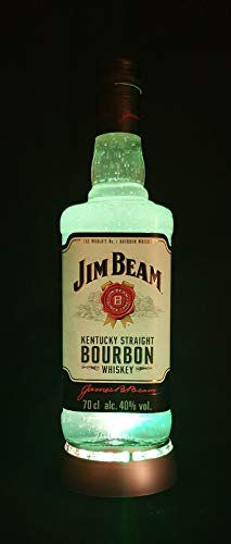 Jim Beam - Flaschenlampe mit LED Podest Frost Upcycling Geschenk Idee