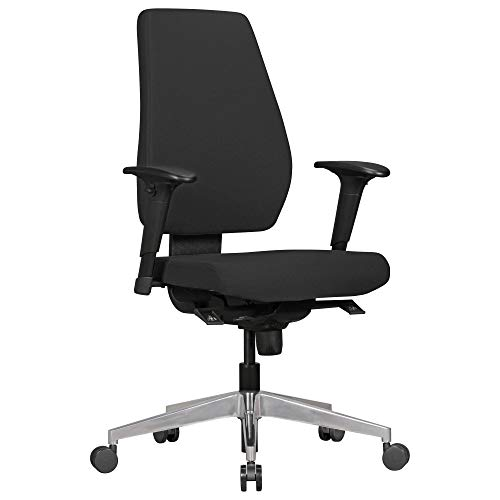 FineBuy Bürostuhl Dave mit Stoff-Bezug in Schwarz   Design Schreibtisch-Stuhl mit Synchromechanik & Armlehnen   Drehstuhl Drehsessel ergonomisch 120 kg
