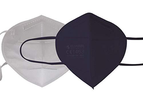 CE zertifizierte - nach EN149:2001+A1:2009 geprüfte Einweg FFP2 NR Atemschutzmaske - Blau - 5er Packung