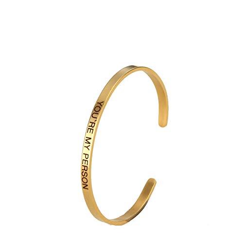 Daesar Frauen Partnerarmband Edelstahl You're My Person Gold Armreif Uhr Damen Breit 3.5 MM