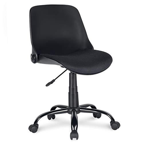 Drehstuhl schwarz - bequemer Schaumstoff - Schreibtischstuhl höhenverstellbar, ohne Armlehne - Eisenfuß mit Pulverbeschichtung und Rollen - Bürostuhl klappbar, bis 120 kg belastbar