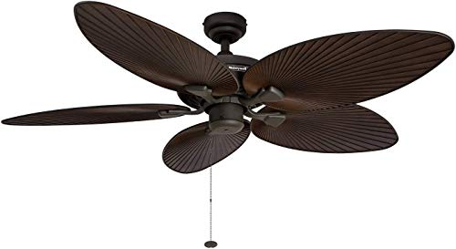 Honeywell Palm Island 52-Inch Tropical Ceiling Fan, Five Palm Leaf Blades, Indoor/Outdoor, Damp Rated, Bronze