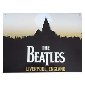 KLASSIEK DE BEATLES SIGNS - BEATLES LIVERPOOL Officieel gelicentieerd staal METAAL ADVERTISING WALL PLAQUE SIGN - 30CM X 41CM