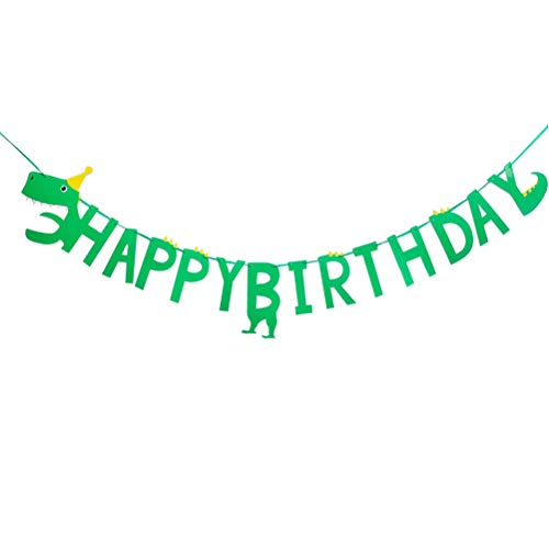 Amosfun HAPPY BIRTHDAY bunting slinger party decor verjaardag dinosaurus thema bunting banner