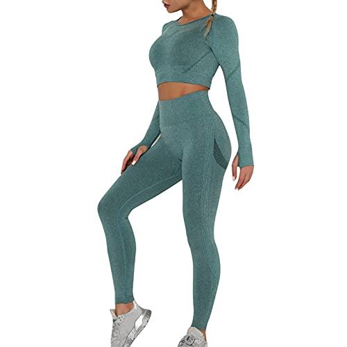OEAK Damen Sportanzüge Jogginganzug Sport Sets Hosen und Sport Crop Top 2 Stücke Bekleidungssets Yoga Outfit Freizeitanzug Sportswear (Grün C, S, s)