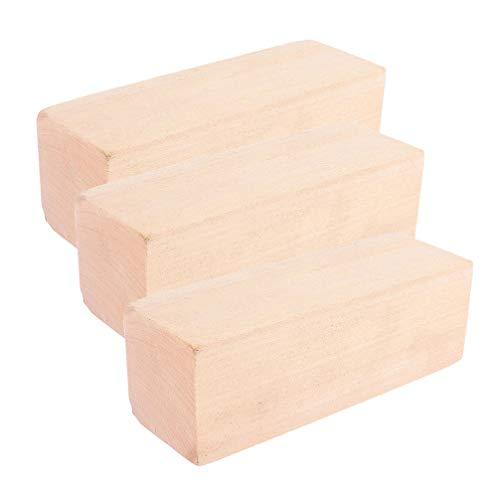 Heallily 3 piezas de bloques de talla de tilo bloques de madera rectangulares sin terminar para manualidades de bricolaje