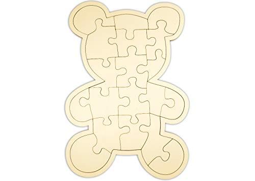 "Kopierladen Holzpuzzle blanko Teddybär selbst verzieren, leeres Puzzle ""Teddy"" aus Holz mit 19 Teilen, ca. 29 x 19,5 cm"