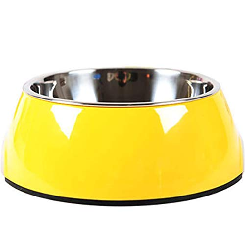 Pet Bowls Stainless Steel Dog Cat Pet Bowl Universal Pet Water and Food Bowls (M, yellow)