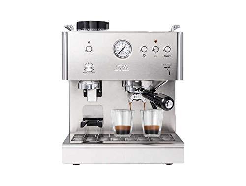 Solis Espressomaschine, Integriertes Scheibenmahlwerk, Manometer, Dampf- und Heißwasserfunktion, 58 mm Profi-Siebhalter, 15 bar, 1,8 l Wassertank, Edelstahl, Personal Barista (Typ 1150)