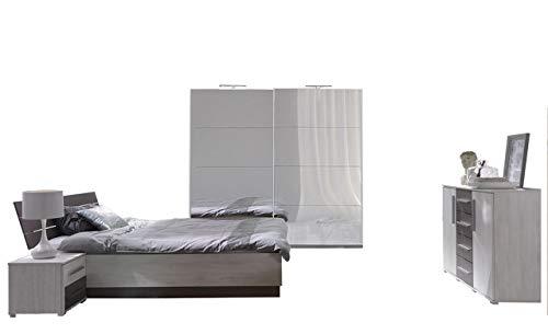 Mirjan24  Schlafzimmer-Set Dione III, Kleiderschrank mit LED-Beleuchtung und Spiegel, 2 Nachttische, Kommode, Schwebetürenschrank, Nachtkommode,...