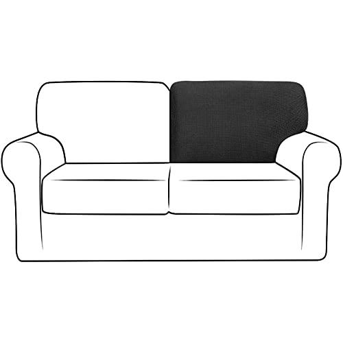NLCYYQ Fundas elásticas para respaldo de sofá con cordón antideslizante, fundas de cojín de repuesto para respaldo de sofá, forro polar jacquard (negro, T-Right)
