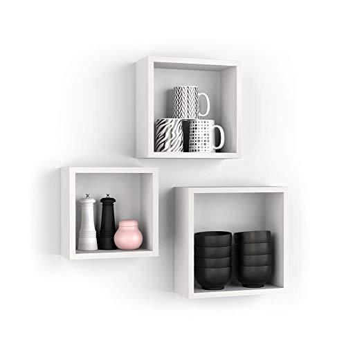 Mobili Fiver, Set de 3 estantes de Pared Cuadrados, Giuditta, Color Fresno Blanco, Aglomerado y Melamina, Made in Italy