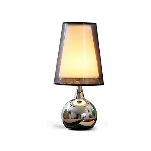 Zwart-weefsel-chroom metaal base LED tafellamp, Europese cafe woonkamer slaapkamer bedlampje leeslamp