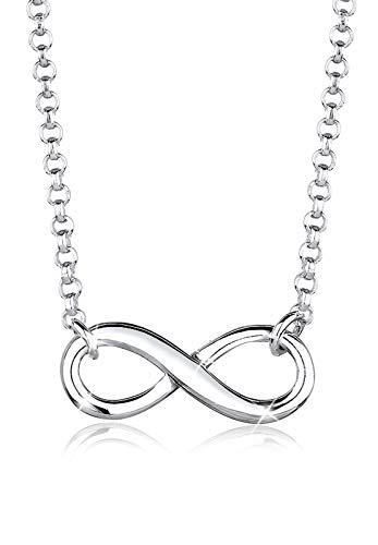 Elli Damen Schmuck Halskette Kette mit Anhänger Infinity  Unendlichkeit Liebe Freundschaft Forever Liebesbeweis Silber 925 Länge 38 cm