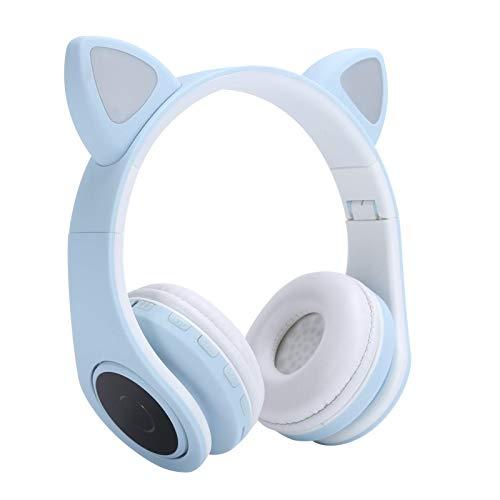 Hopcd per Cuffie Bluetooth 5.0, Cuffie LED con Orecchio di Gatto con Spina da 3,5 mm Microfono Stereo riduzione del Rumore per chiamate Musica Bambini Adulti