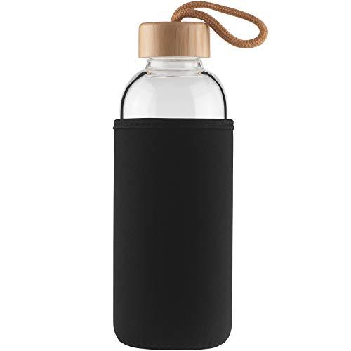 Cleesmil Sport Trinkflasche Glas Wasserflasche 750 ml BPA Free Glasflasche mit Neoprenhülle und Bambusdeckel (Schwarz)