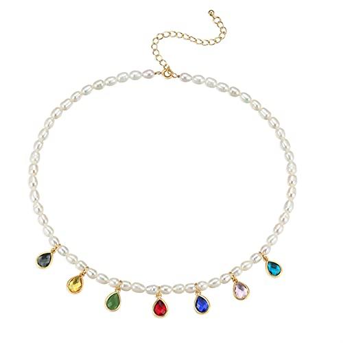Collar Mujer Joyería de Cadena de clavícula de Perla Retro del suéter de Las Mujeres Collar de diseño Ligero Collares de Lujo para Mujeres Collar Colgantes