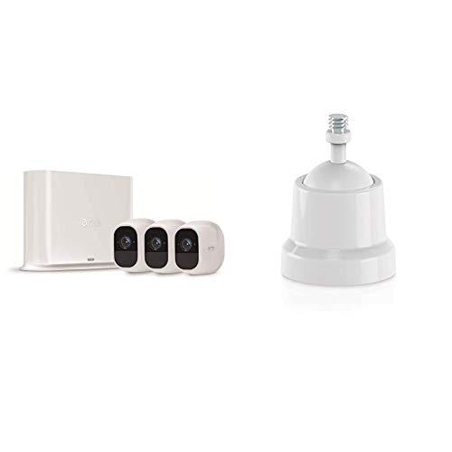 Arlo Pro2 Überwachungskamera & Alarmanlage, 1080p HD, 3er Set, Smart Home, kabellos & Halterung (geeignet für den Außenbereich, Arlo Pro kabellose Überwachungskamera, 2 Stück) weiß, VMA4000