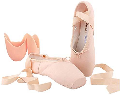 Ballettschuhe, Weicher Ballettschläppchen, Ballett Tanzschuhe Geteilte Ledersohle, für Kinder & Damen