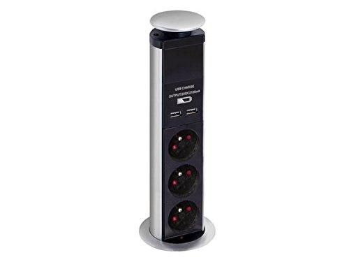 Perel EBP03LUSB - Torre de 3 enchufes (retráctil, 2 Conectores USB, 250 V)