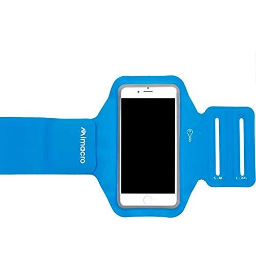 Mimacro Brazalete Deportivo para móvil de hasta 4,7' 138 X 67 X 7 mm Lycra Neopreno Ajustable L-XXL y S-M Azul