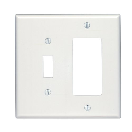 Leviton 80605-W Midway Size Thermoset Device Mount 2-Gang 1-Toggle Decora/GFCI Device Combination Wallplate, White