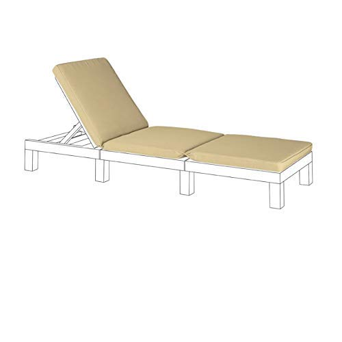 Gardenista Garden Sun Lounger Replacement Pad for Allibert Keter Daytona | Rattan Sunlounger Recliner Patio Furniture Cushion | Water Resistant & Lightweight | Hypoallergenic Fibre Filled (Stone)