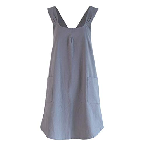 Amytalk Japanese Linen Cross Back Cooking Aprons for Women with Pockets Cute for Baking Painting Gardening Kitchen Cleaning S Size Cute Christmas Apron For Women